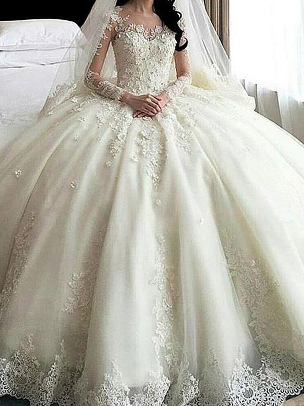 Cathedral Train Ball Gown Long Sleeves Scoop Tulle Wedding Dresses