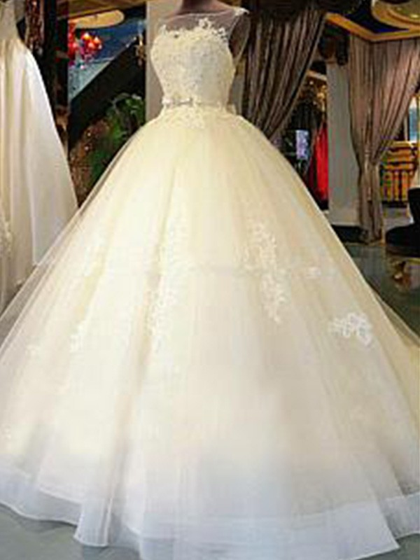 Cathedral Train Ball Gown Sleeveless Scoop Tulle Wedding Dresses
