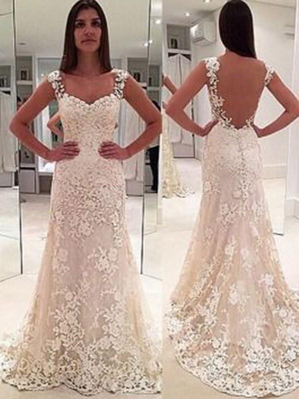 Court Train Sheath/Column Sleeveless Sweetheart Lace Wedding Dresses