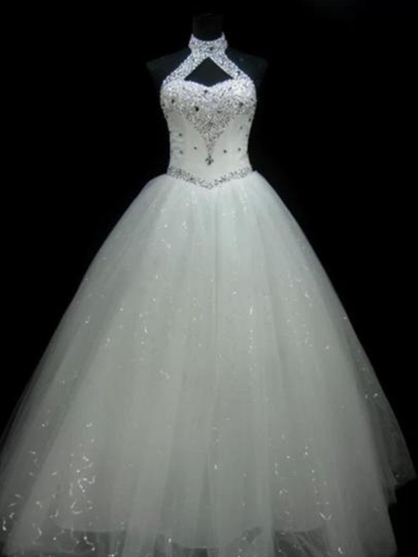 Floor-Length Ball Gown Sleeveless Halter Tulle Wedding Dresses