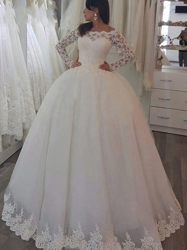 Sweep/Brush Train Ball Gown Long Sleeves Off-the-Shoulder Lace Wedding Dresses