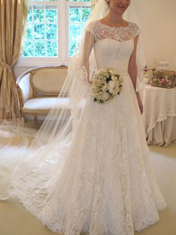 Court Train A-Line/Princess Short Sleeves Square Lace Wedding Dresses
