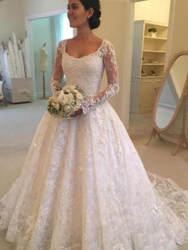 Cathedral Train Ball Gown Long Sleeves Scoop Lace Wedding Dresses