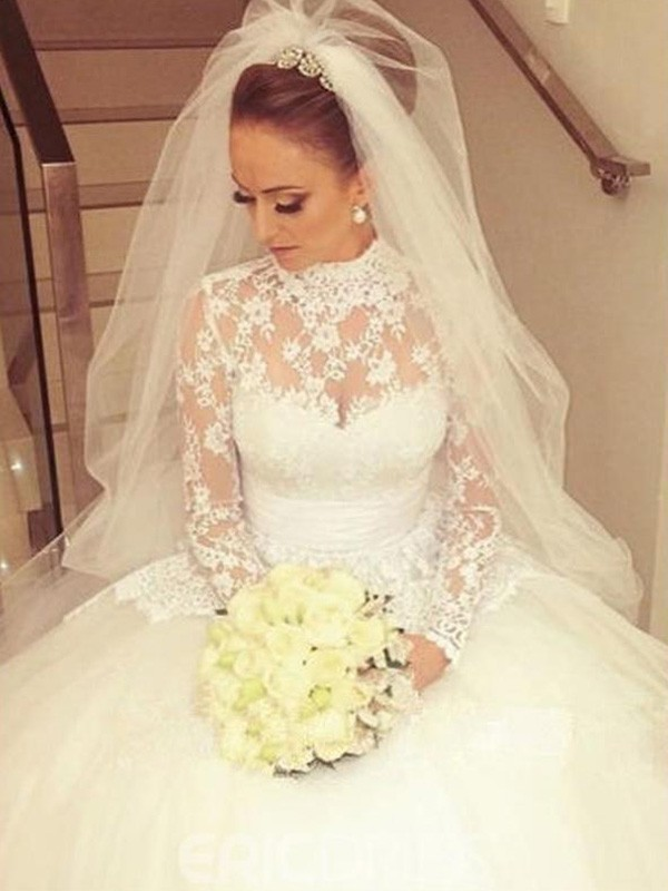 Cathedral Train Ball Gown Long Sleeves High Neck Lace Wedding Dresses