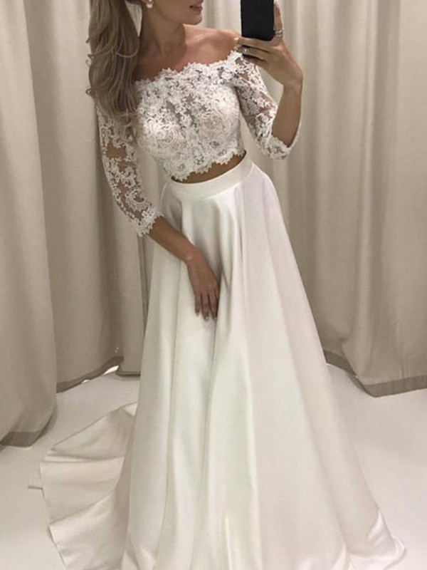 Court Train A-Line/Princess 3/4 Sleeves Off-the-Shoulder Satin Wedding Dresses