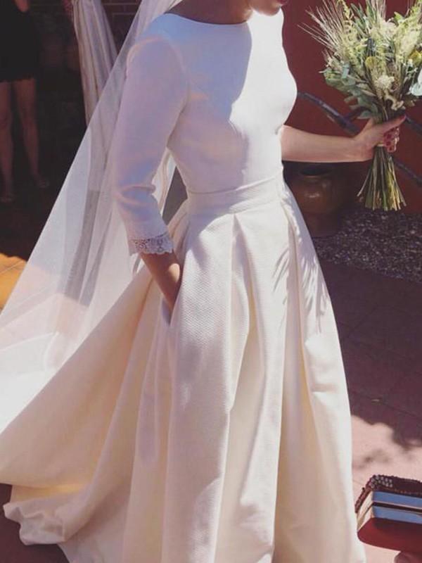 Sweep/Brush Train A-Line/Princess 3/4 Sleeves Scoop Satin Wedding Dresses