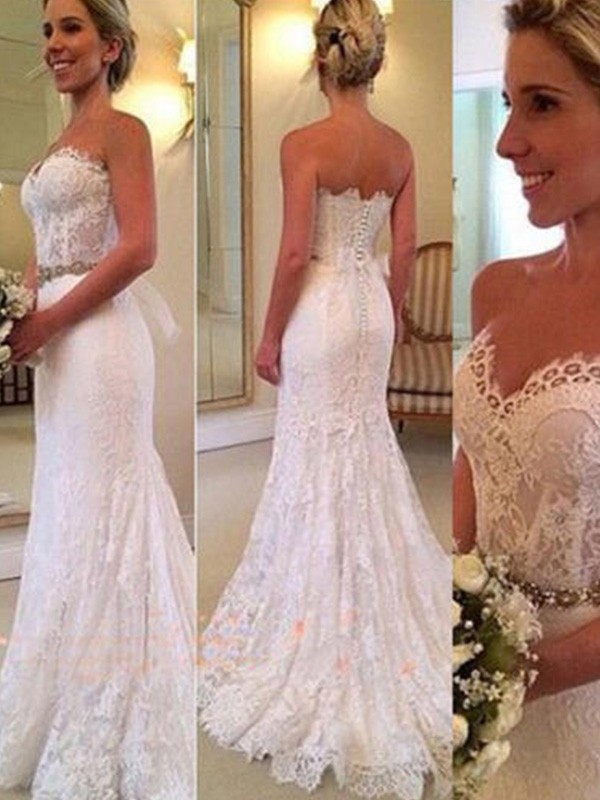 Sweep/Brush Train Trumpet/Mermaid Sleeveless Sweetheart Lace Wedding Dresses