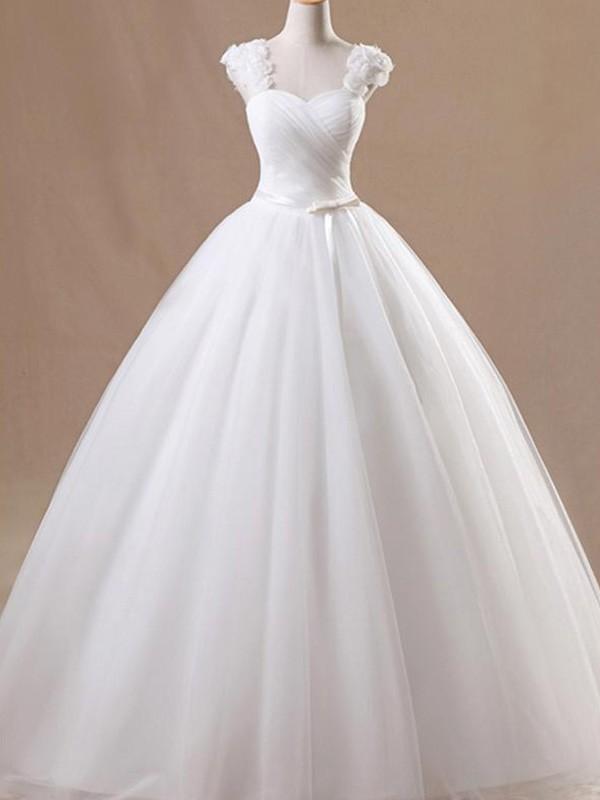 Floor-Length Ball Gown Sleeveless Square Tulle Wedding Dresses