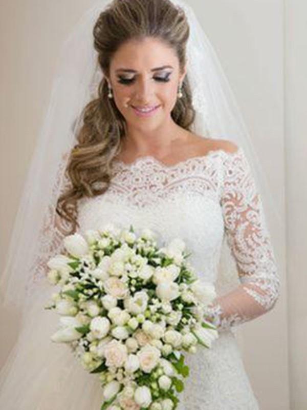 Sweep/Brush Train Trumpet/Mermaid Long Sleeves Off-the-Shoulder Tulle Wedding Dresses