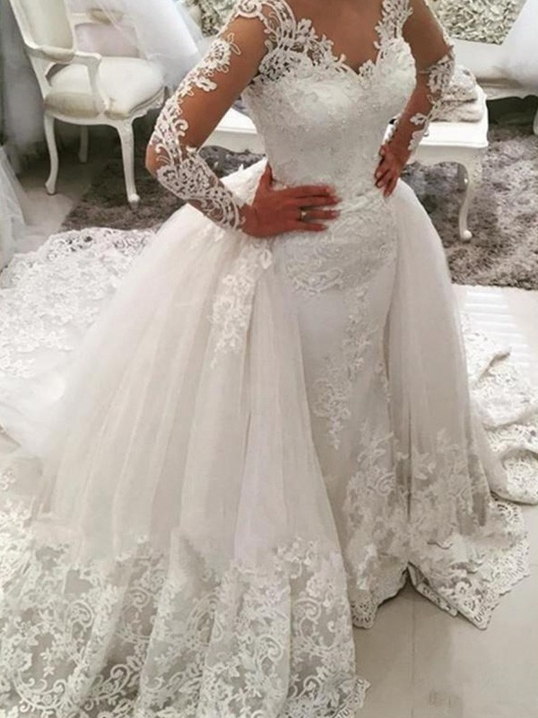 Cathedral Train Ball Gown Long Sleeves V-neck Tulle Wedding Dresses