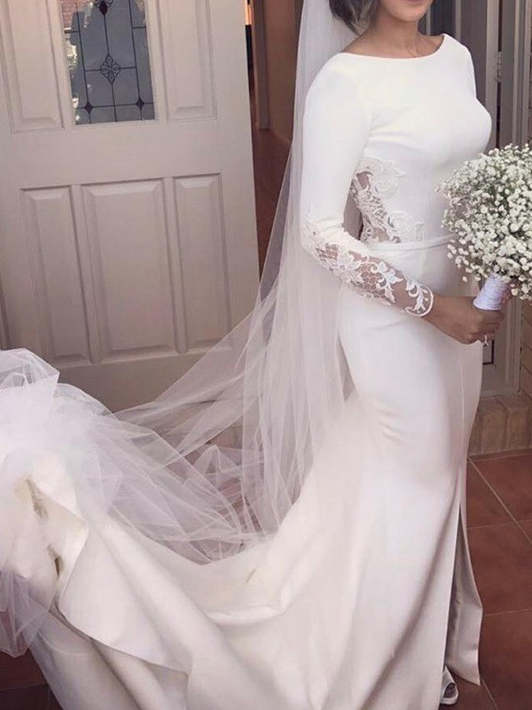 Court Train Trumpet/Mermaid Long Sleeves Scoop Satin Wedding Dresses