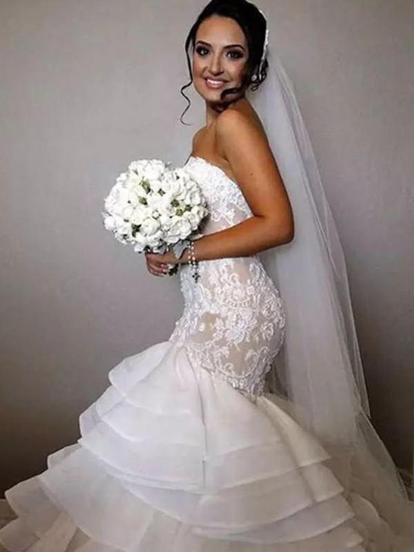 Chapel Train Trumpet/Mermaid Sleeveless Sweetheart Organza Wedding Dresses