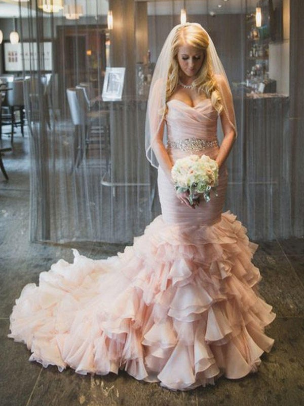 Court Train Trumpet/Mermaid Sleeveless Sweetheart Organza Wedding Dresses