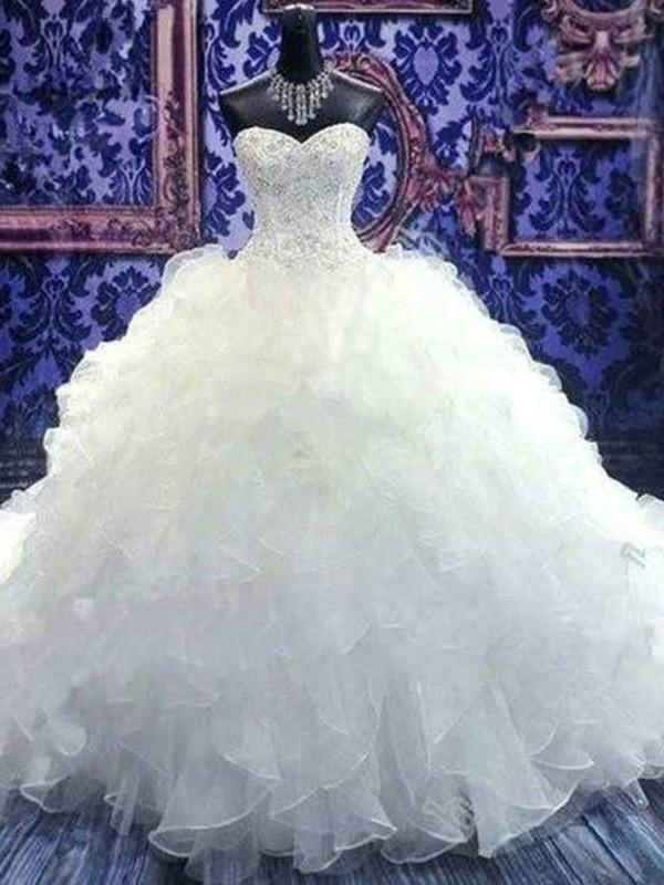 Chapel Train Ball Gown Sleeveless Sweetheart Organza Wedding Dresses