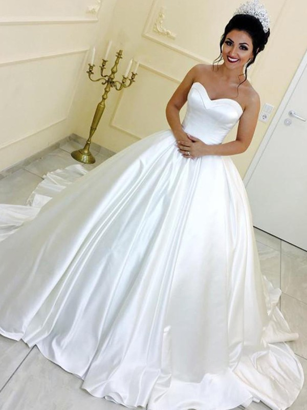 Cathedral Train Ball Gown Sweetheart Satin Wedding Dresses