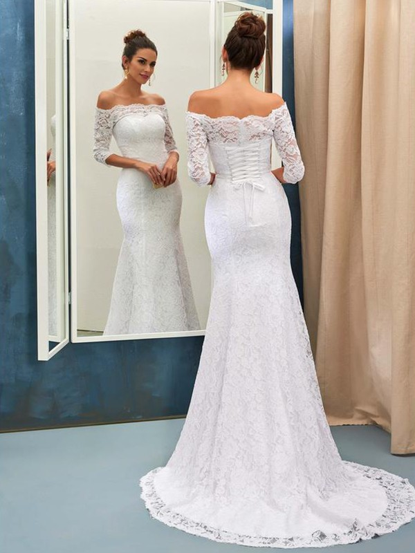 Sweep/Brush Train Trumpet/Mermaid Off-the-Shoulder Lace Wedding Dresses