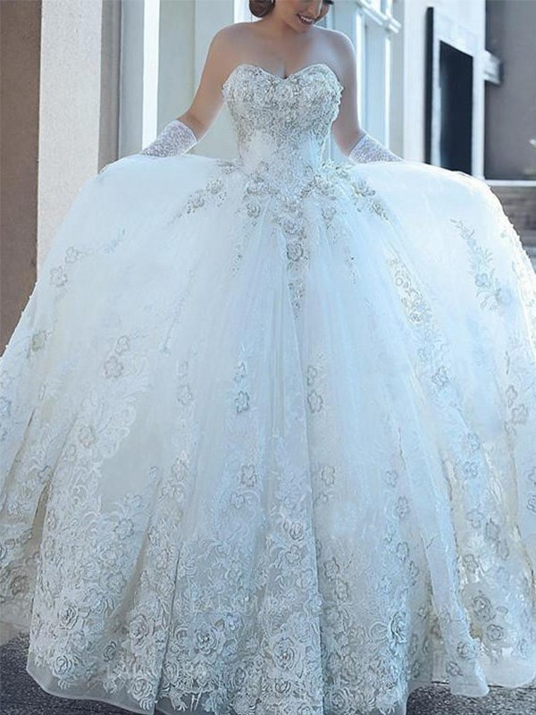 Cathedral Train Ball Gown Sweetheart Tulle Wedding Dresses