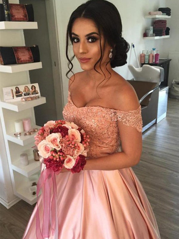 Cathedral Train Ball Gown Off-the-Shoulder Satin Wedding Dresses