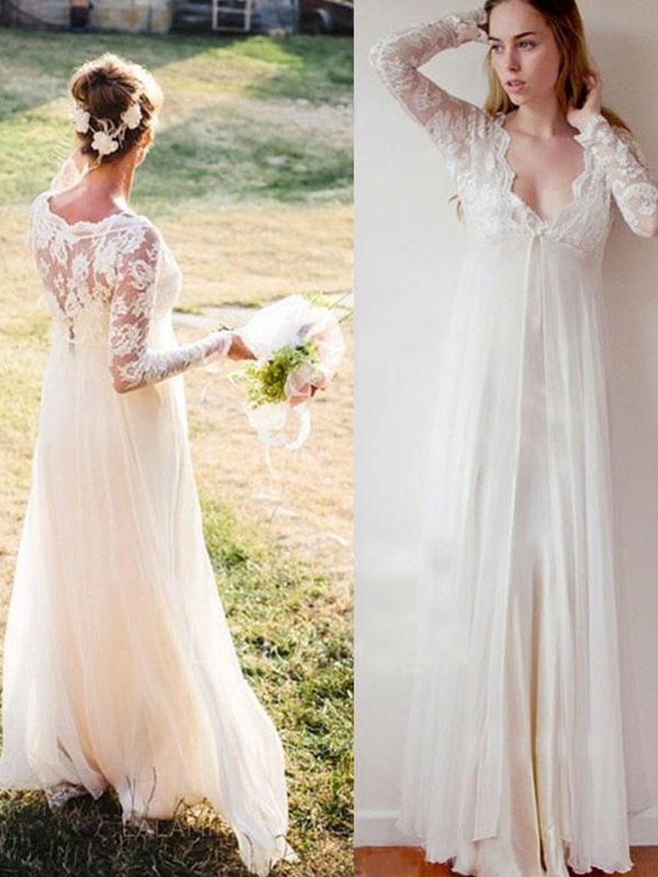 Floor-Length Empire V-neck Chiffon Wedding Dresses