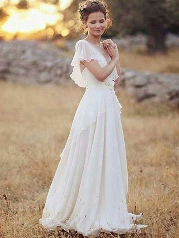Floor-Length A-Line/Princess V-neck Chiffon Wedding Dresses