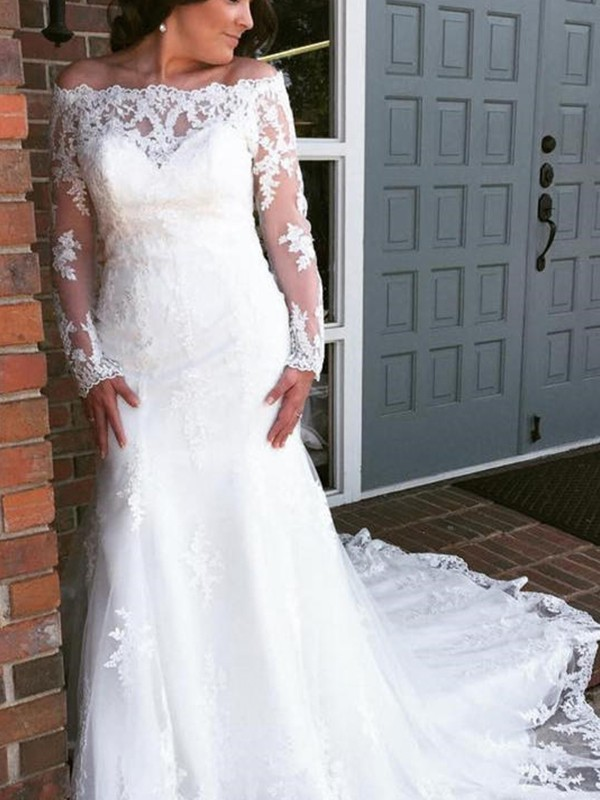 Cathedral Train Trumpet/Mermaid Off-the-Shoulder Tulle Wedding Dresses