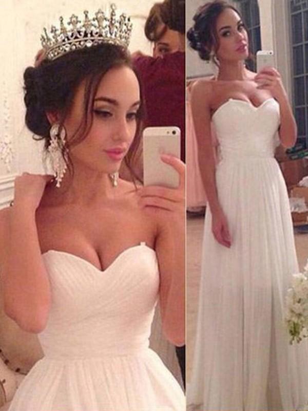Floor-Length A-Line/Princess Sweetheart Chiffon Wedding Dresses
