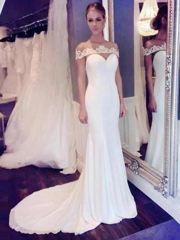 Court Train Trumpet/Mermaid Scoop Chiffon Wedding Dresses