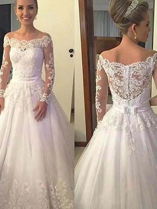 Court Train Ball Gown Off-the-Shoulder Tulle Wedding Dresses