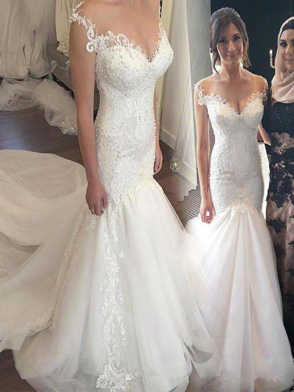 Chapel Train Trumpet/Mermaid Off-the-Shoulder Tulle Wedding Dresses
