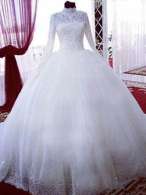 Chapel Train Ball Gown High Neck Tulle Wedding Dresses