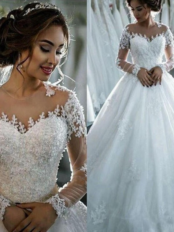 Floor-Length Ball Gown Bateau Tulle Wedding Dresses
