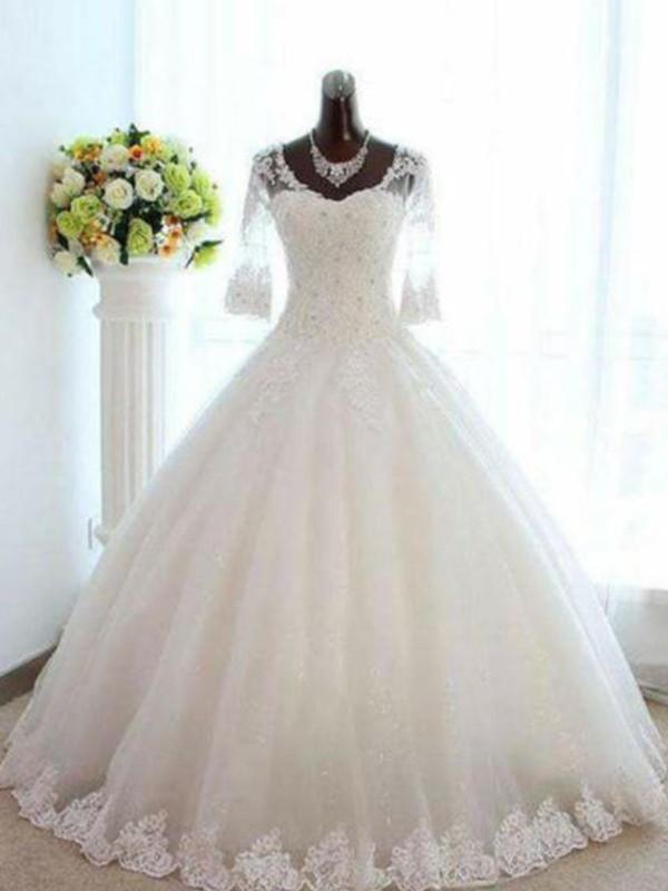 Floor-Length Ball Gown Bateau Tulle Wedding Dresses