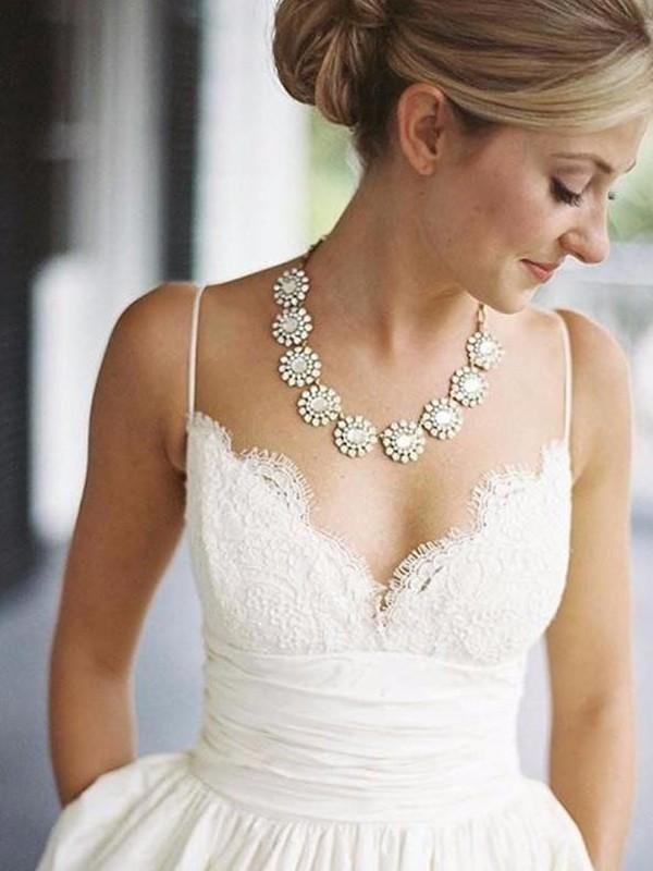 Sweep/Brush Train A-Line/Princess V-neck Satin Wedding Dresses