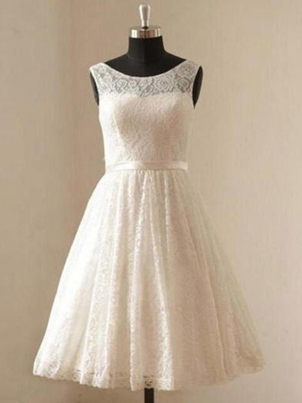 Knee-Length A-Line/Princess Scoop Lace Wedding Dresses