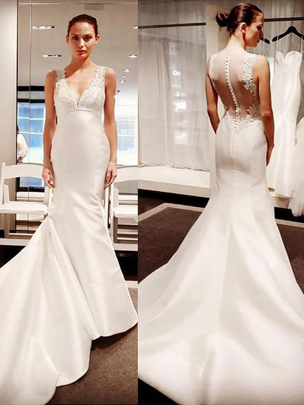 Court Train Trumpet/Mermaid V-neck Satin Wedding Dresses