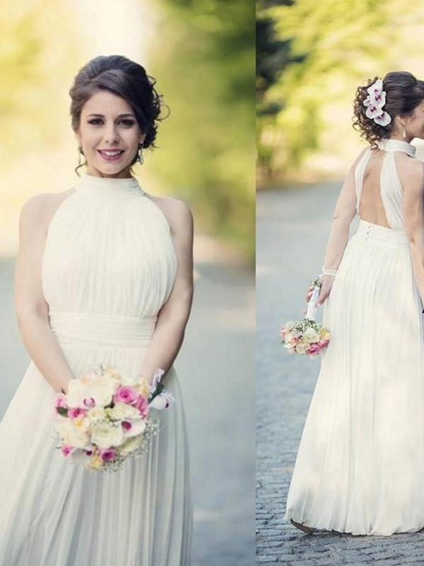 Floor-Length A-Line/Princess Halter Tulle Wedding Dresses
