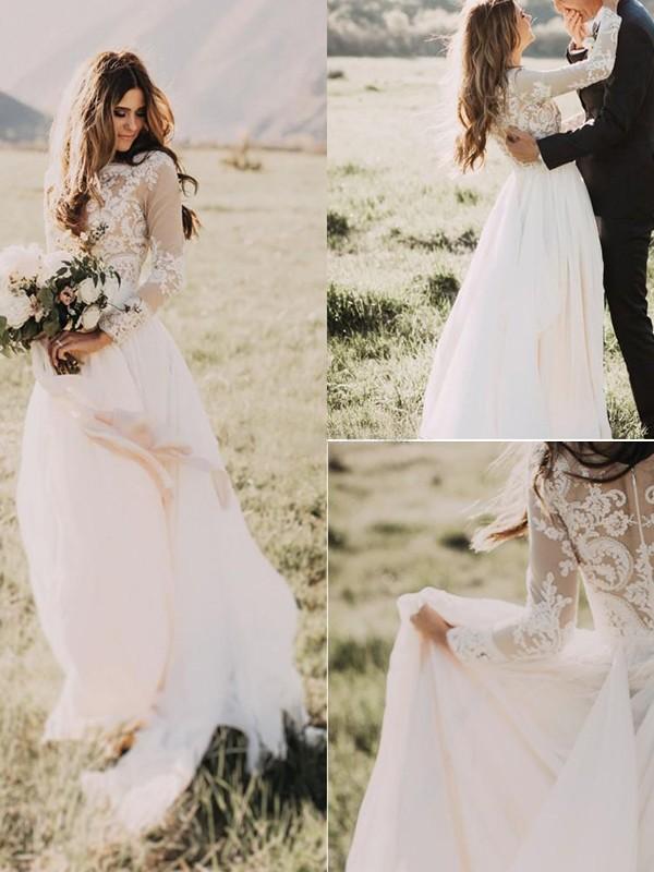 Sweep Train A-Line/Princess V-neck Chiffon Wedding Dresses