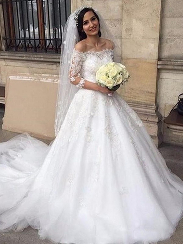 Chapel Train Ball Gown Off-the-Shoulder Tulle Wedding Dresses