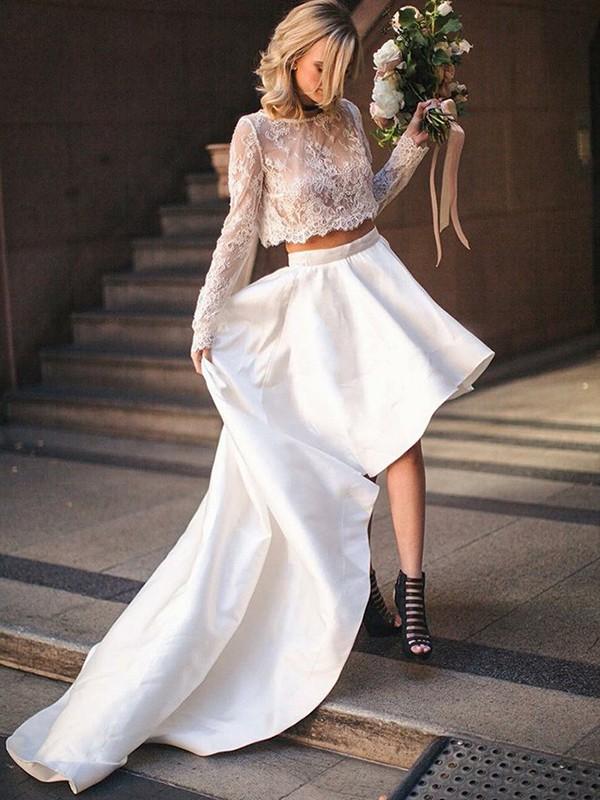 Sweep/Brush Train A-Line/Princess Scoop Satin Wedding Dresses