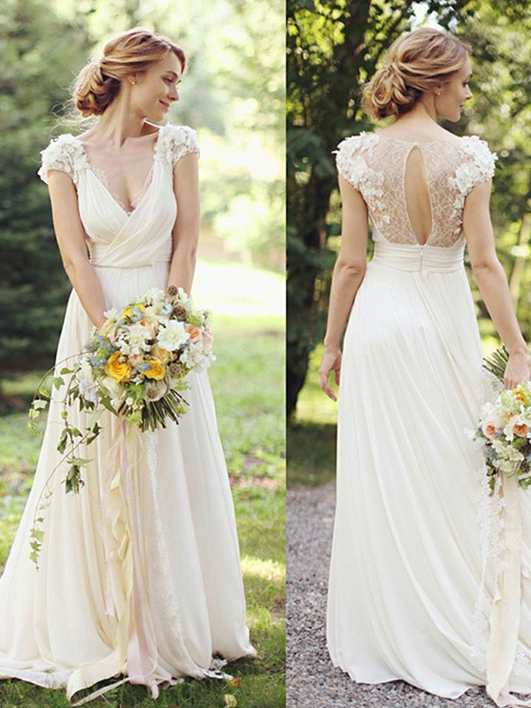 Sweep Train A-Line/Princess V-neck Chiffon Wedding Dresses