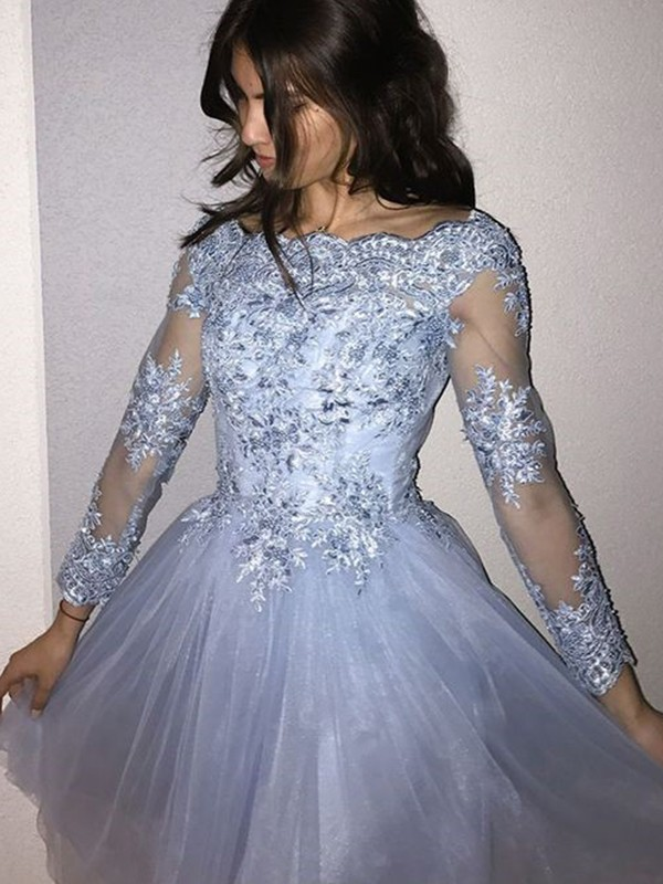 Short/Mini A-Line/Princess Long Sleeves Off-the-Shoulder Tulle Dresses