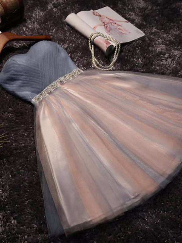 Short/Mini A-Line/Princess Sleeveless Sweetheart Tulle Dresses