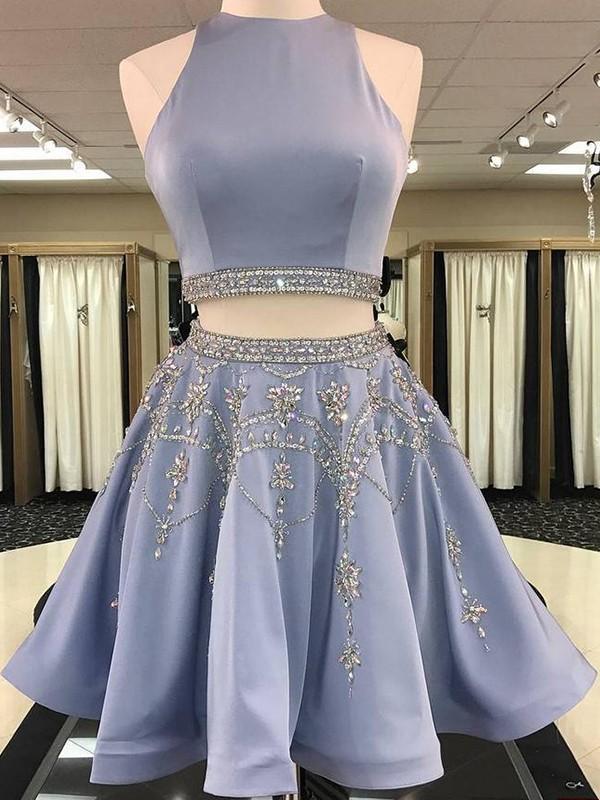 Short/Mini A-Line/Princess Sleeveless Bateau Satin Dresses
