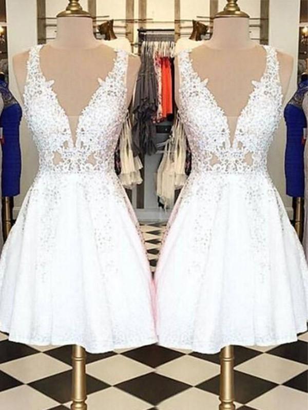 Short/Mini A-Line/Princess Sleeveless Bateau Lace Dresses