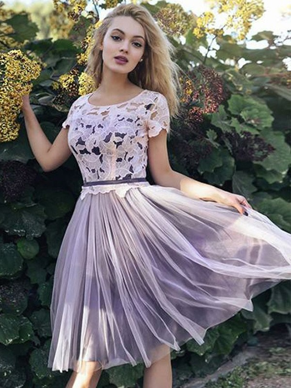 Short/Mini A-Line/Princess Short Sleeves Scoop Tulle Dresses