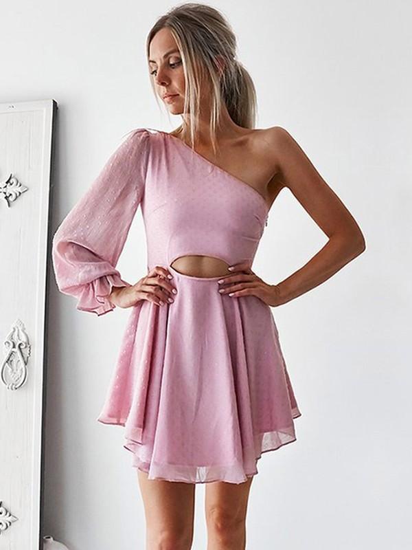 Short/Mini A-Line/Princess Long Sleeves One-Shoulder Chiffon Dresses