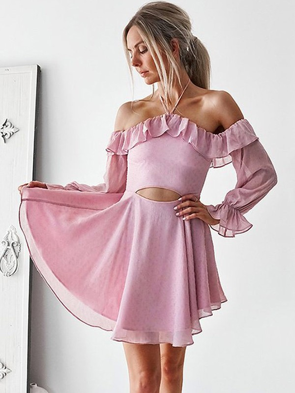 Short/Mini A-Line/Princess Long Sleeves Off-the-Shoulder Chiffon Dresses