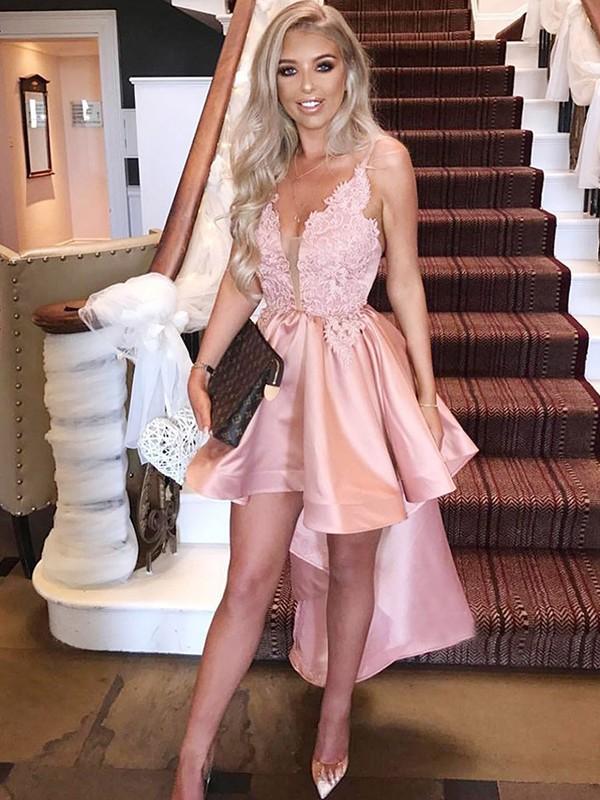 Asymmetrical A-Line/Princess Sleeveless Spaghetti Straps Satin Dresses