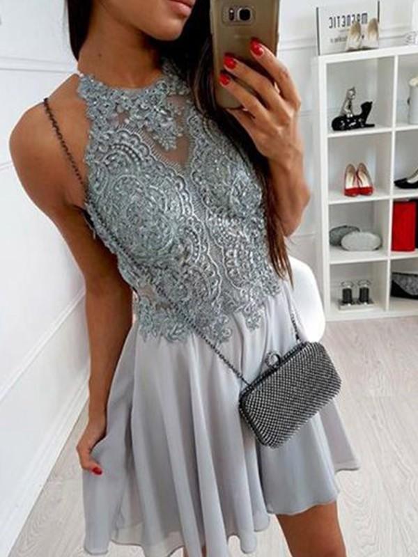 Short/Mini A-Line/Princess Sleeveless Halter Chiffon Dresses