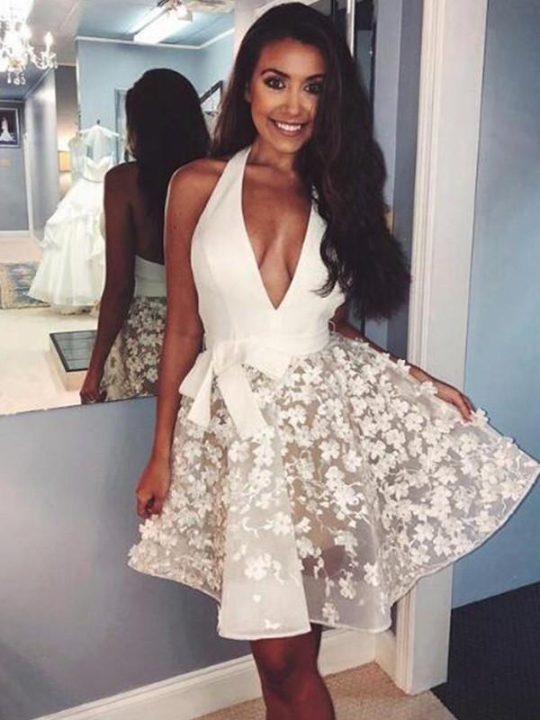 Short/Mini A-Line/Princess Halter Sleeveless Organza Homecoming Dress